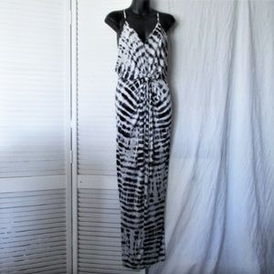 The Vanity Room black silver poly maxi dress S